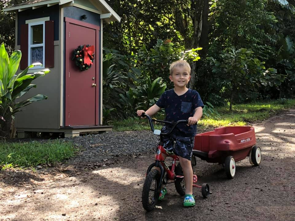 ryan with wagon and bike